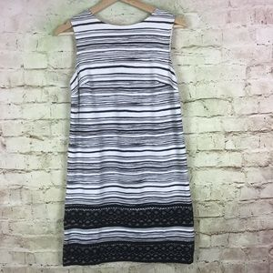 Ann Taylor Shift Dress Size 4P Stripe Black White